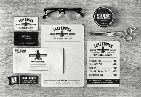 Fast Eddie's Barber Shop Branding by Richard Arthur Stewart - Branding Inspiration brand presentation
