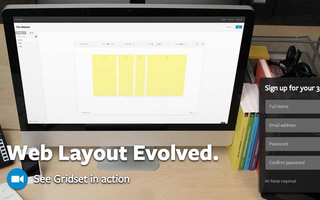 gridset website startup homepage layout design typography