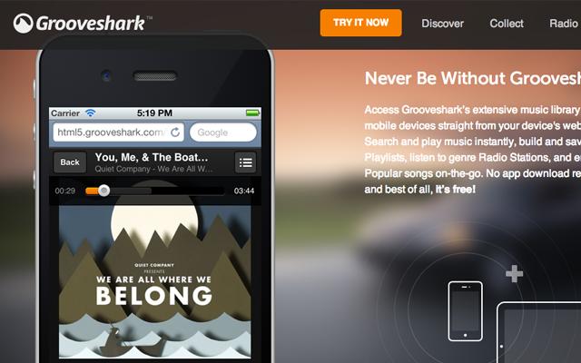 grooveshark new 2013 landing page design inspiration