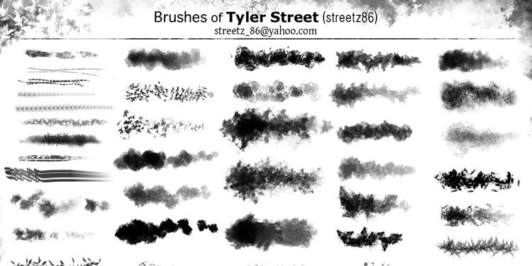 Free Photoshop Custom Brushes of Tyler Street there are 40 Brushes in the pack