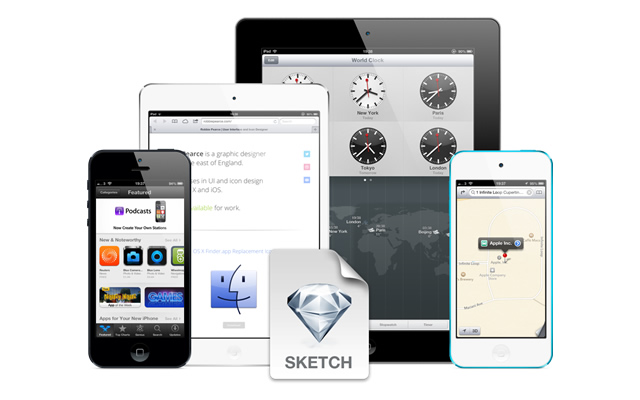 Fully Scaleable Apple iOS Devices Sketch.app Template