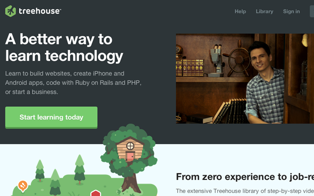 team treehouse education website homepage signup ui