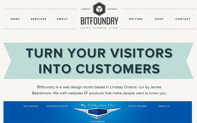 big header text portfolio bitfoundry layout