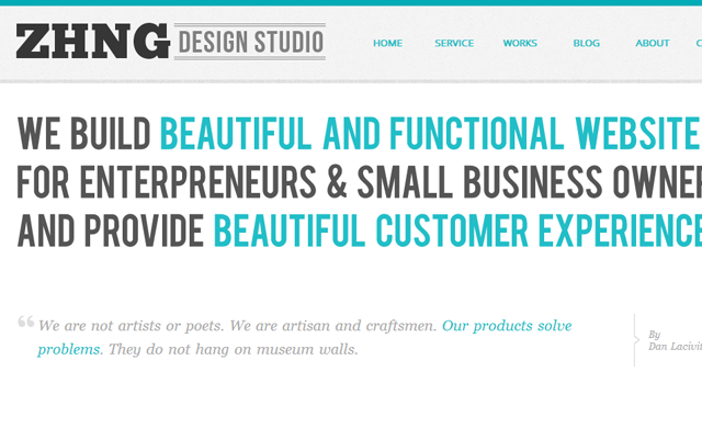 zhng design studio website portfolio bigtext