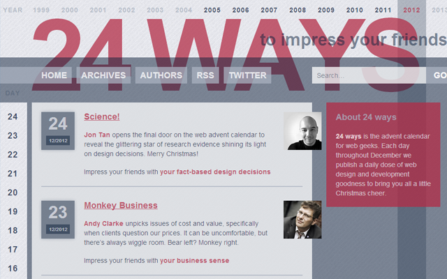 24ways blog magazine web design inspiration layout