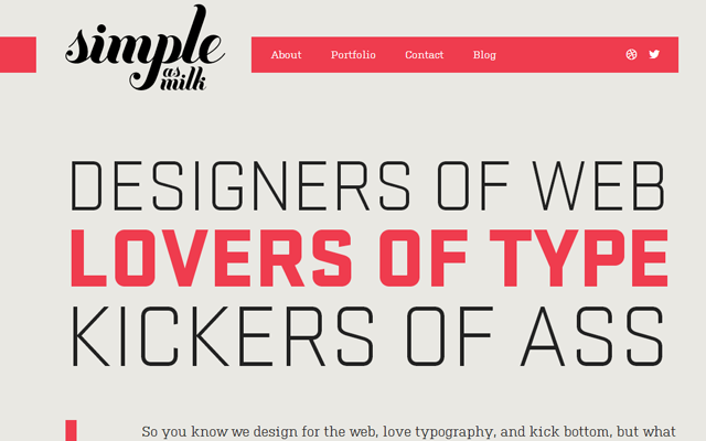 simple as milk design studio website layout