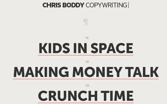 chris boddy copywriting website interface portfolio layout