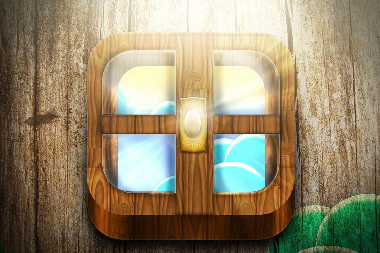 lights wooden window design ios app icon