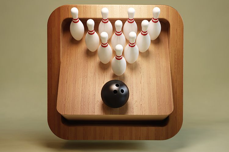 bowling ball pins mobile ios app icon