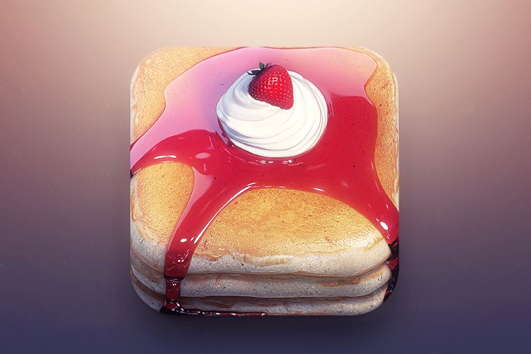 breakfast food ios mobile app icon pancakes stack syrup