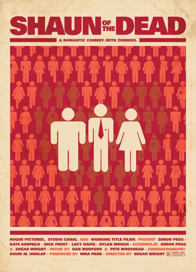 Shaun of the Dead - A romantic comedy cult movie poster remake by fans