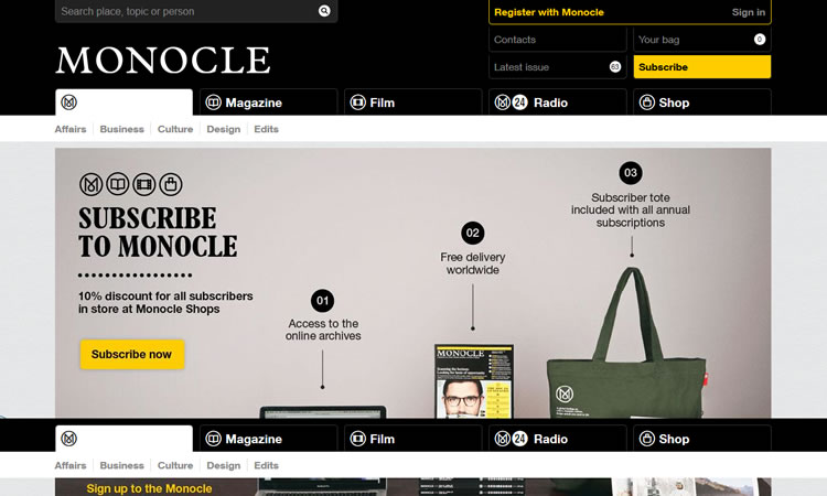 content heavy websites Monocle Inspiration