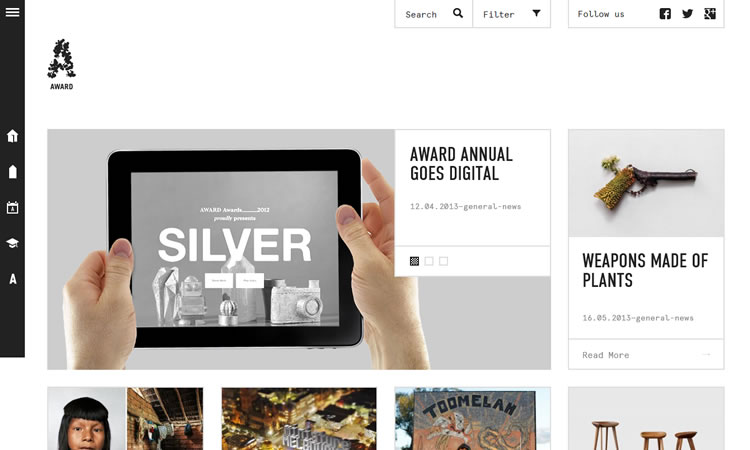Award content heavy web design Inspiration