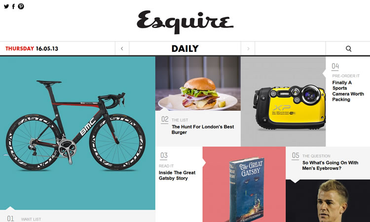 content heavy websites Esquire Inspiration