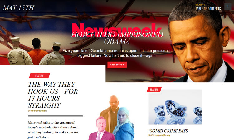 Newsweek content heavy web design Inspiration