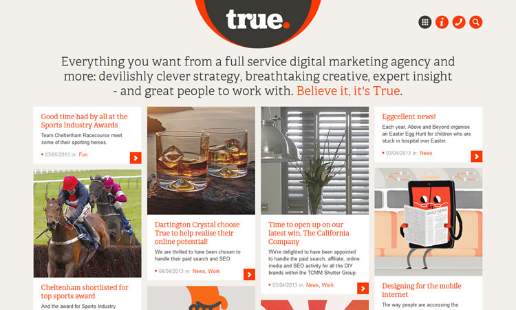 True Digital content heavy web design Inspiration