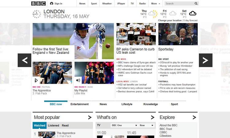 BBC content heavy web design Inspiration