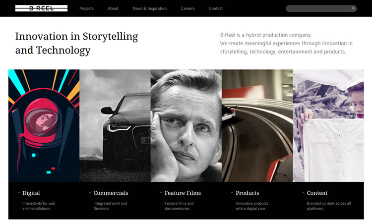 B-Reel content heavy web design Inspiration