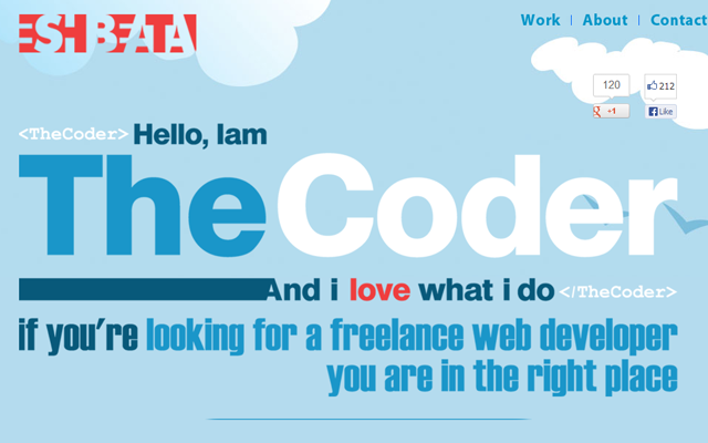 Eshbeata portfolio coder developer big website layout