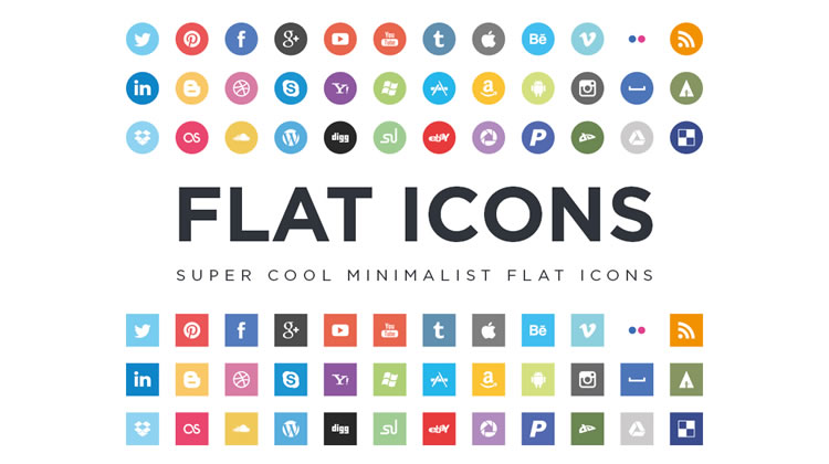 Flat Social Icons free Flat Icon Set