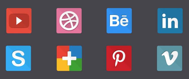 Flat Social Icons free Flat Icon Set