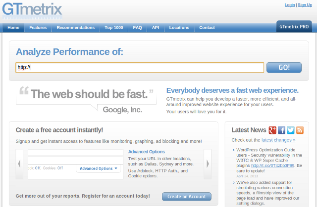 fast website gtmetrix