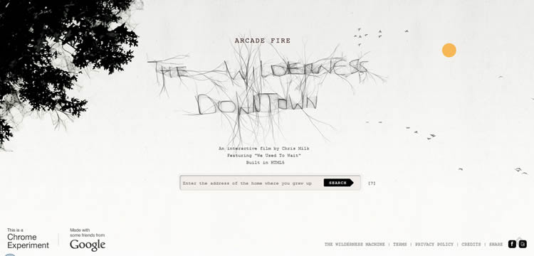 Arcade Fire: The Wilderness Downtown is an inspiring HTML5 Website