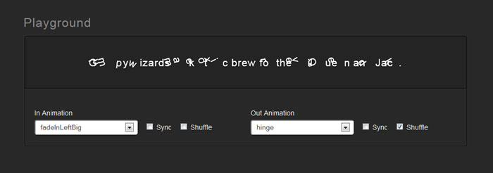 Textillate.js is a jquery Plugin for CSS3 Text Animations