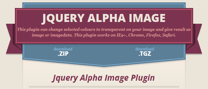 The jQuery Alpha Image Plugin can change selected image colours to transparent
