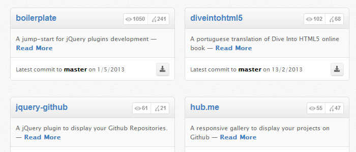 jQuery Github is A plugin to display your favorite Github Repositories