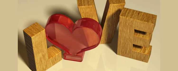 photoshop tutorial to create a wood textured 3D text effect with a simple red glass heart