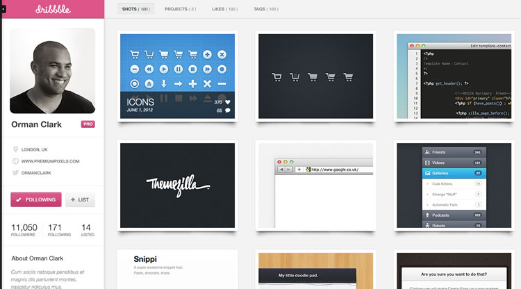 Dribbble - Web Redesign Concept