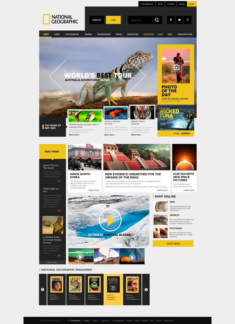 National Geographic - Web Redesign Concept