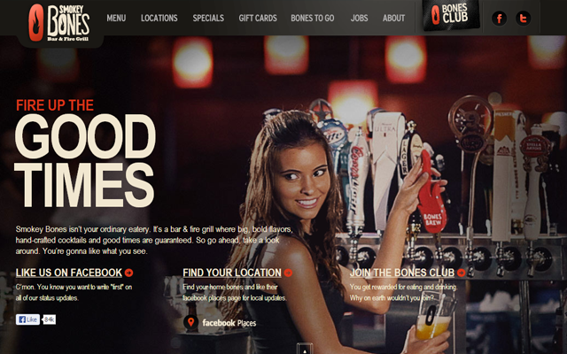 smokey bones bbq restaurant website layout parallax typography