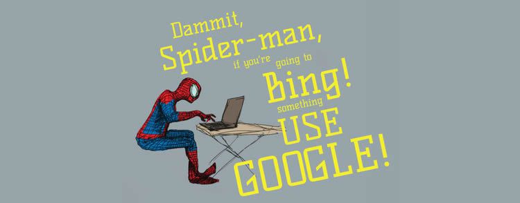 Spiderman uses Bing