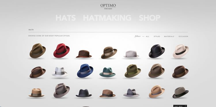 The Optimo Hats website example of Ecommerce Sites design
