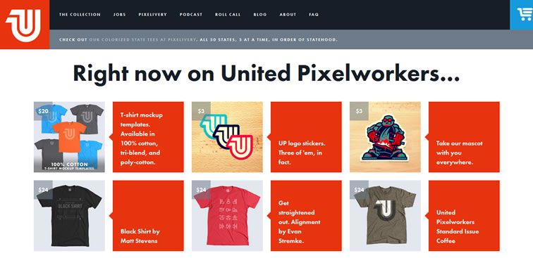 The United Pixelworkers website example of Ecommerce web design