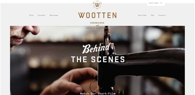The Wootten website example of Ecommerce Sites design