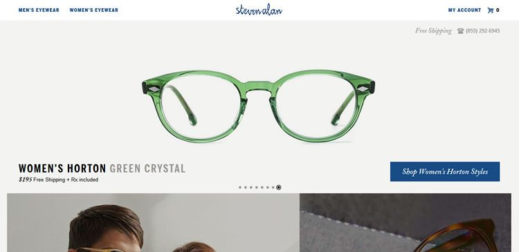 The Steven Alan Optical website example of Ecommerce web design
