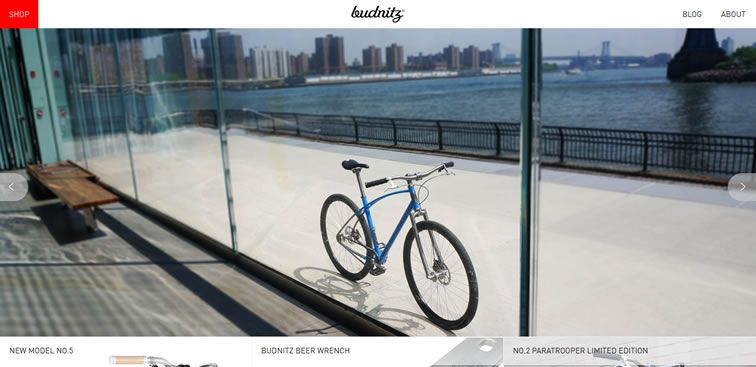 The Budnitz Bicycles website example of Ecommerce Sites design