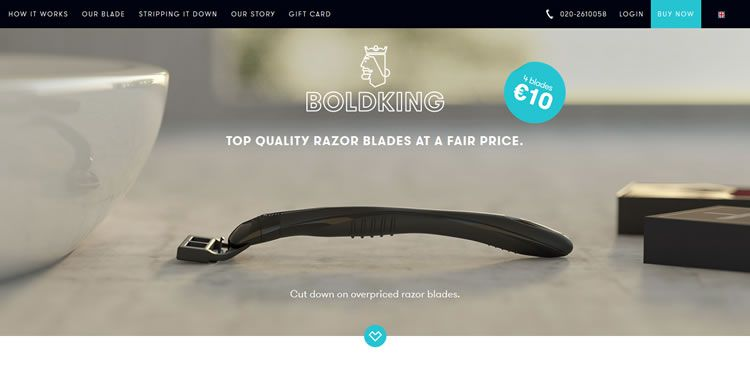 The BOLDKING website example of Ecommerce Sites design
