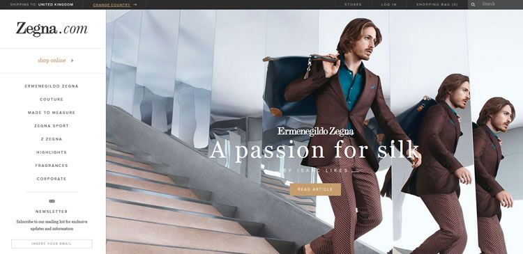 The Ermenegildo Zegna website example of Ecommerce web design