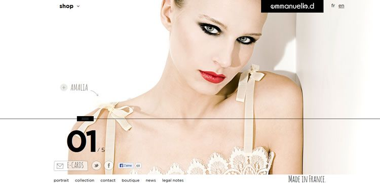 The Emmanuelle.d website example of Ecommerce Sites design