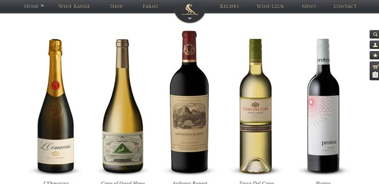The Anthonij Rupert Wines website example of Ecommerce web design
