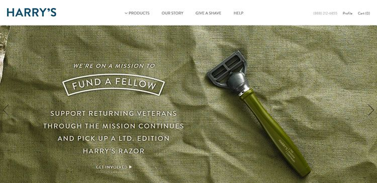 The Harry's - Great Shave website example of Ecommerce Sites design