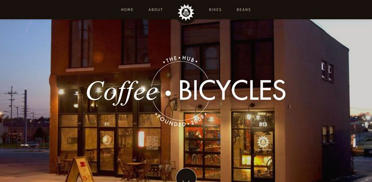 The The Hub Coffee & Bicycles website example of Ecommerce web design