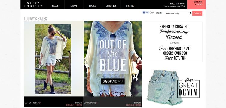 The NiftyThrifty website example of Ecommerce web design