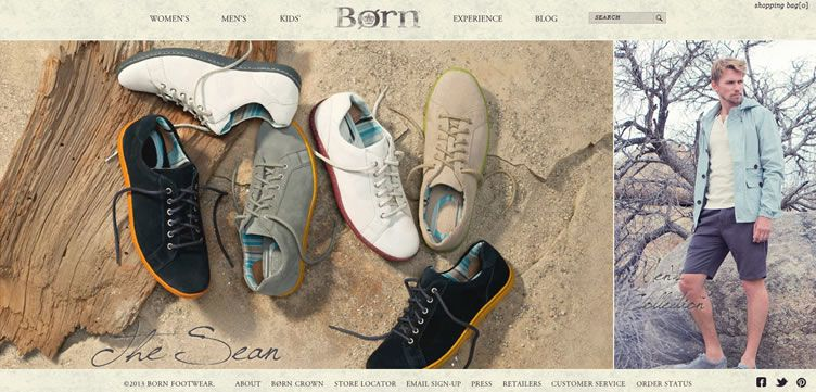 The Bornshoes website example of Ecommerce Sites design