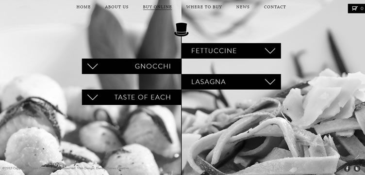 The Cappellos website example of Ecommerce web design