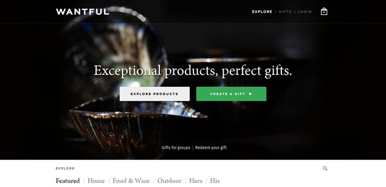 The Wantful website example of Ecommerce web design
